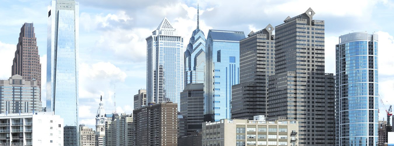 Philadelphia skyline with commercial office buildings